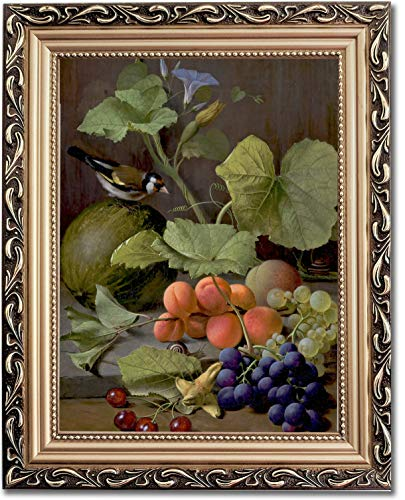 Ori Gallery Framed Canvas Print - Still Life with Fruits and a Goldfinch - by Otto Diderich Ottesen