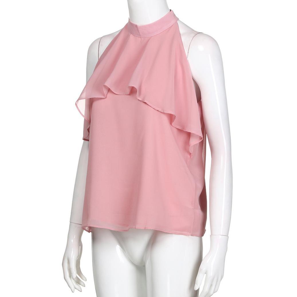 Damen Bluse Top Sommer Bluse Ärmellos Unterhemd Mode Urlaub Solid