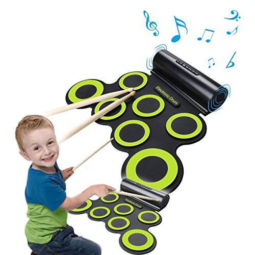 Usb Drum Professional Set (Rechargeable Electronic Roll-Up Drum Kit, Foldable Drum Set Built in Speaker With DrumSticks, Foot Pedals CoastaCloud 7 Drum Pads With Headphone Jack For Practice Starters Kids)