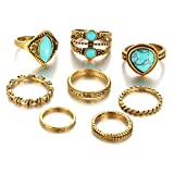 super1798 8Pcs Vintage Women Turquoise Midi Knuckle Stacking Band Rings Finger Jewelry