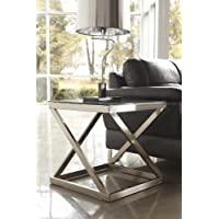 Coly Brushed Nickel Finish Square End Table