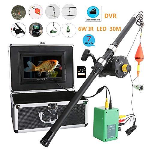 HONGSHENG 7 Zoll 30M DVR Recorder 1000TVL Fish Finder Unterwasserfischen 6 Watt LED Infrarot Lampe Video Fishing Camera Kit