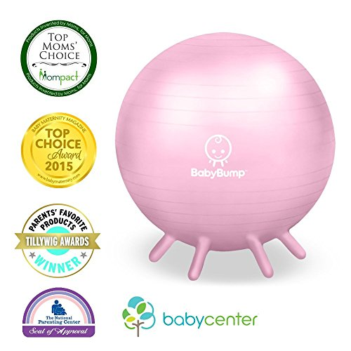 Baby Bump Birth Ball w Base Legs - Yoga - Anti-burst - Pump - Pregnancy Exercise - Prenatal Fitness - Induces Labor - Soothes Babies - Yoga Moms - 65 cm - Pink