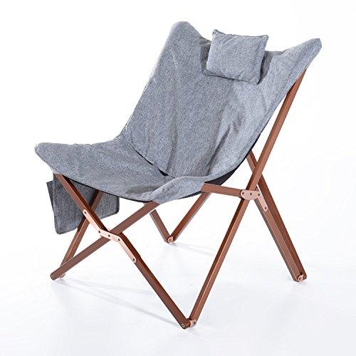 "HomCom 37"" Fabric Folding Butterfly Chair - Light Gray"