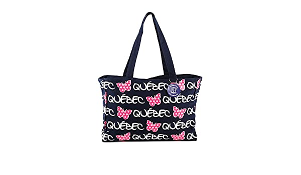 Quebec Butterfly Tote Bag Black Canada Beautiful Multi-purpose Everyday Canvas Travel Shoulder Bag for Shopping Work /& School