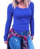 Gemijack Womens Tops Casual Long Sleeve Crew Neck Plain Tunic Cotton Shirt by