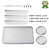"""RV Furnace Vent Screen, Stainless Steel Mesh RV Furnaces Screen with Installation Tool, 8.1'' x 1.5'' & 2.8''x1.3'' & 8.5"""" x 6'' x 1.3"""" (6-Piece Set)"""