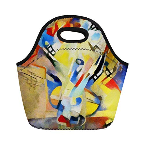 Semtomn Lunch Bags Floral Bouquet Abstraction in the Modern of Kandinsky Executed Neoprene Lunch Bag Lunchbox Tote Bag Portable Picnic Bag Cooler Bag