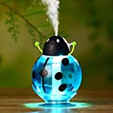 FollowFar Air Humidifier Cool Mist Humidifier Beetle Cartoon Shape 360 Degree Rotating Mini USB Humidifier for Car Office Home Desktop Water Supply Atomizer LED Light |Car humidif (Blue)