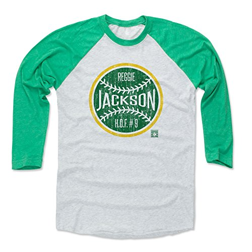 500 LEVEL Reggie Jackson Baseball Tee Shirt (X-Large, Green/Ash) - Oakland Athletics Raglan Tee - Reggie Jackson Ball G (Jackson Reggie Shirts)