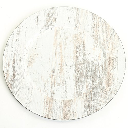 Koyal Wholesale Shabby White Faux Wood Charger Plates, 4-Pack