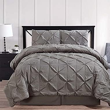 Envelope your room in elegant simplicity with the 4pc King Gray Oxford Comforter set; White Diamond pin tuck pattern; 100% luxury microfiber fabric w/Down alt. Filler; Machine washable