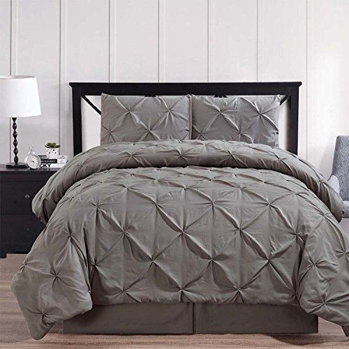 Envelope your room in elegant simplicity with the 4pc Queen Gray Oxford Comforter set; White Diamond pin tuck pattern; 100% luxury microfiber fabric w/Down alt. Filler; Machine - Set Bed Deluxe