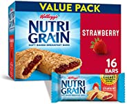 Kellogg's Nutri-Grain, Soft Baked Breakfast Bars, Strawberry, Made with Whole Grain, Value Pack, 20.8 oz (