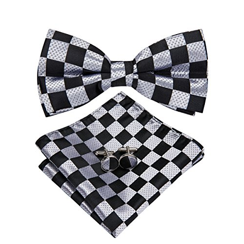 Hi-Tie Men Classic Multi-Color Bow Tie Necktie with Cufflinks and Pocket Square Bow Tie Set (LH-756) ()