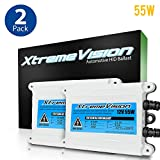 9005 5000K 2 Year Warranty 5K Bright White XtremeVision 55W AC Xenon HID Lights with Premium Slim AC Ballast