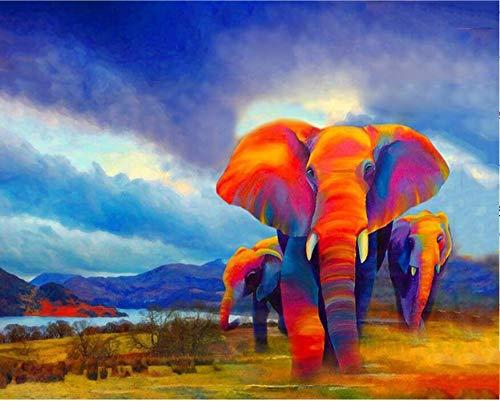 Agolong Agolong Agolong DIY Malen nach Zahlen Bunte Elefanten Moderne Wandkunst Leinwand DIY Geschenk Für Zuhause Wand Kunstwerk cm Mit Rahmen 40x50cm B07NWVNNW5 | Queensland  80f41d