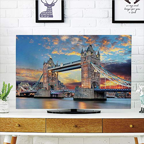 iPrint LCD TV dust Cover Strong Durability,London,Vista of Tower Bridge at Dramatic Sunset Thames River with Grey Clouds,Light Blue Yellow Tan,Picture Print Design Compatible 60