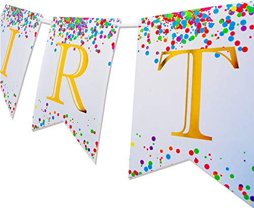 Keira Prince Happy Birthday Banner, Multicolored Sprinkles & Gold Foil Letters (White and Rainbow)