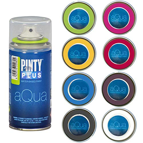 Spray Paint for Arts & Crafts, Water Based Pintyplus Aqua Mini, 150 mL cans, 8 Piece Vibrant Artist Set, Aurora Red, Crimson Red, Orange Apricot, Green Kiwi, True Blue, Violet Aubergine, Black, White (Crimson Red Spray Paint)