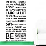 Large Quotes Wall Decal Inspirational Stickers Motivational Family Saying Decorative Nursery Art Kids Baby Home Letters Vinyl Peel & Stick Mural Art in This House We are a Family Love (Large)