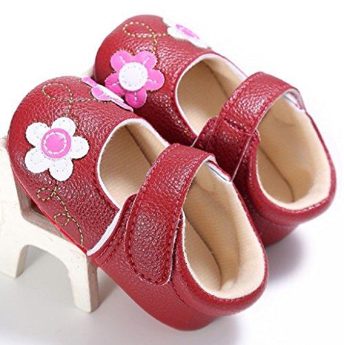 Auxma Zapatos de bebé, Zapatos de cuna suave de cuero para bebés,Zapatos de bebé patrón de flores Rojo
