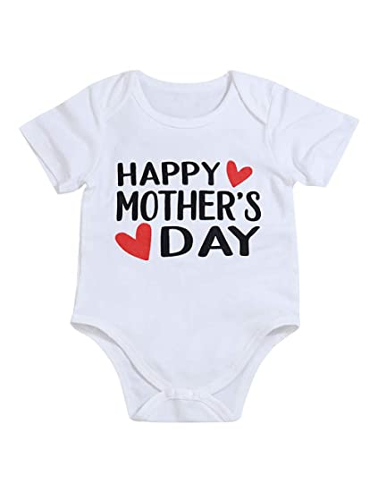 94f697eab4a55 Newborn Baby Boy Girl Mother s Day Clothes Cute Letter Onesies Summer  Bodysuit Romper Outfits(0