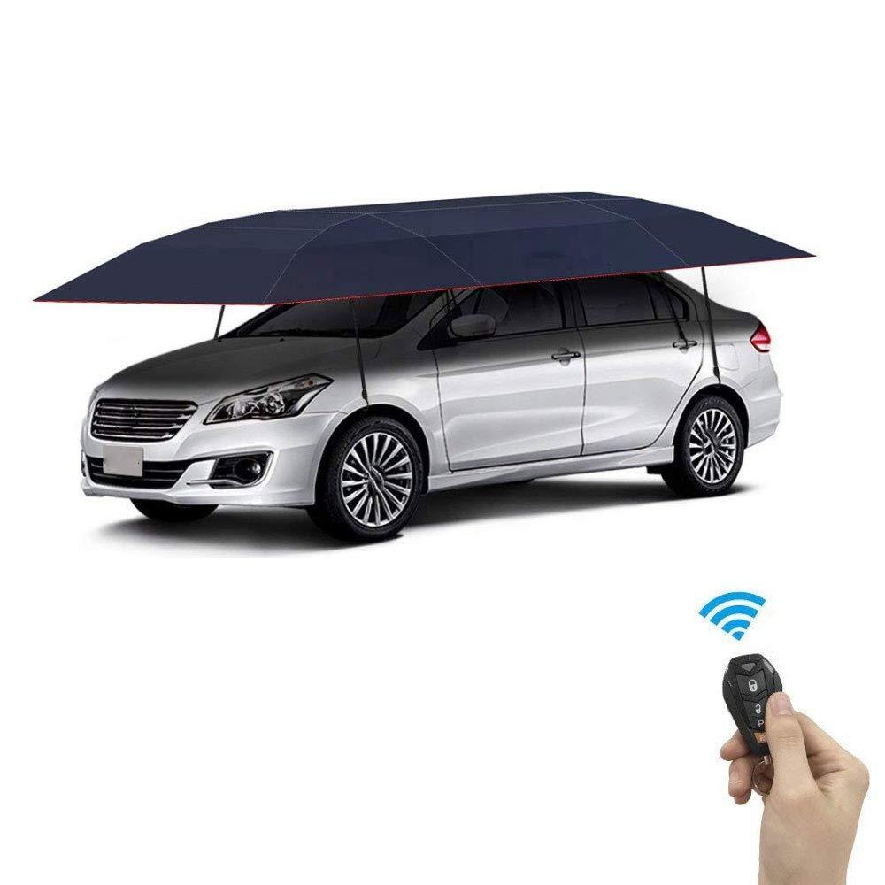 nieve tormenta Sun Shade Carpa de cubierta para autom/óvil 420 x 220 cm Paraguas autom/ático universal para autom/óvil anti-UV prueba de viento cochera plegable y m/óvil a prueba de agua