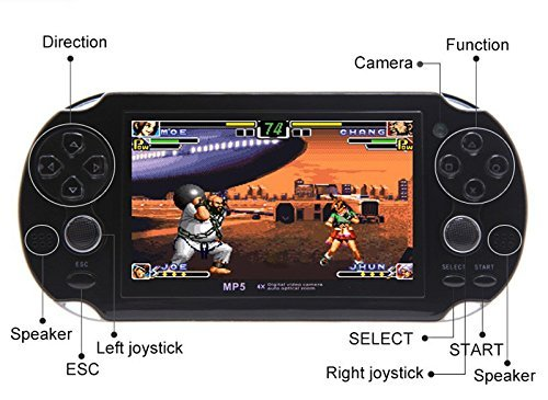 CZT 4.3 inch 8GB Double Joystick Handheld Game Console Build in 1200 Games Video Game Console Support Arcade/neogeo/CPS/FC/SFC/GB/GBC/GBA/SMC/SMD/SEGA Games MP4 Player (Black) by CZT (Image #2)