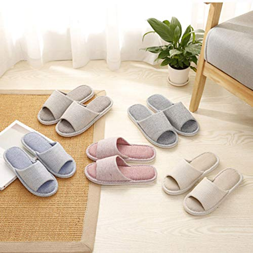 Unisex FREAHAP Slipper Beige Couple Slippers R Bedroom Stripes Indoor Sole Soft ZZrqw5C