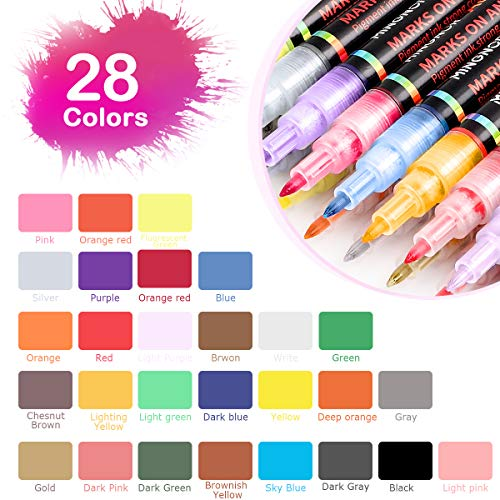28 Colors Acrylic Paint Marker Pens for Rocks Painting Glass Stone Wood Metal Ceramic Canvas Plastic Mug DIY Craft Projects, Fabric Markers Kit with Fine Tip, Water Based Premium Waterproof Permanent