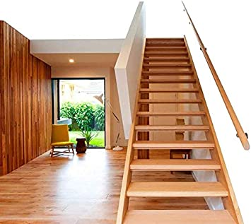 ACZZ Pasamanos de la barandilla de la escalera, pasamanos de escalera de madera maciza redonda, Hogar contra la pared Pared antideslizante Barandilla de seguridad de loft interior, Varilla de soporte: Amazon.es: Bricolaje
