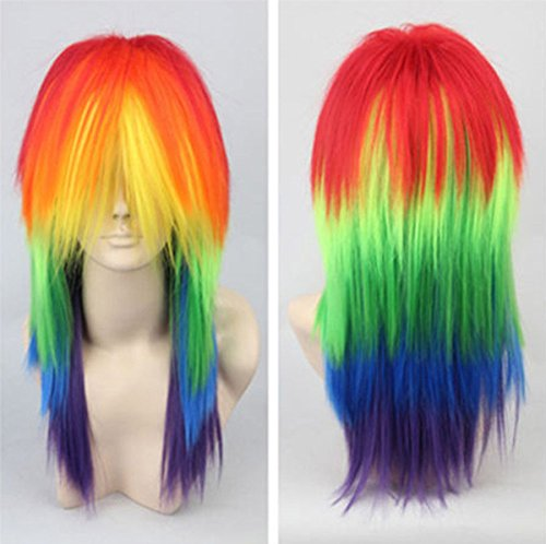 Anogol Hair+Cap Long Straight Cosplay Wig Synthetic Wig for Kids Multi-Colored Cosplay Wig Anime Wig for Halloween Party -