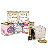6-Count Mini Floral Tea Tins Square Tin Boxes (Random Style)