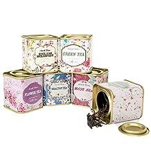 6-Count Mini Floral Tea Tins Square Tin Boxes (Random Style)