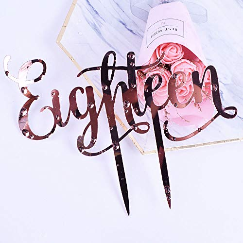 YUINYO Happy Birthday Cake Topper champagne Gold 18th Birthday Party Decoration Supplies Calligraphy Bling Cake Decoration Sign Party Banner