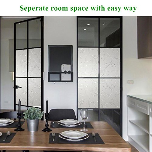 Mikomer Privacy Window Film Wheat Static Cling Glass Door Film, Non Adhesive Window Cling/Removable/Heat Control/Anti UV for Office and Home Decoration,17.5In. by 78.7In. by Mikomer (Image #4)