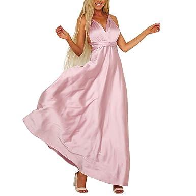 low priced 815b2 a2872 Vestiti Cocktail Donna, ABCone Eleganti Abito Maxi abito lungo da donna  elegante Abito lungo sexy senza maniche elegante scollo a V nero donna ...