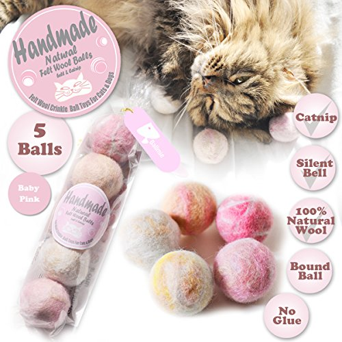 BALLMIE Felt Wool Cat Toys Ball with Catnip and Bell, Natural Handmade (Baby Pink (5 ()