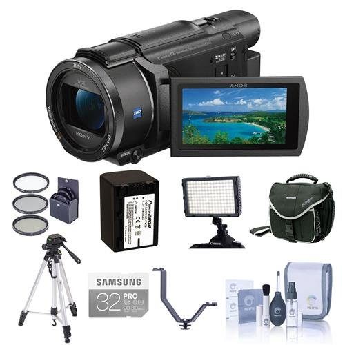 Sony FDR-AX53 4K Ultra HD Handycam Camcorder - Bundle with Video Bag, 32GB SDHC U3 Card, 55mm Filter Kit, Spare Battery, Video Light, Cleaning Kit, Tripod, Triple Shoe V-Bracket, by Sony