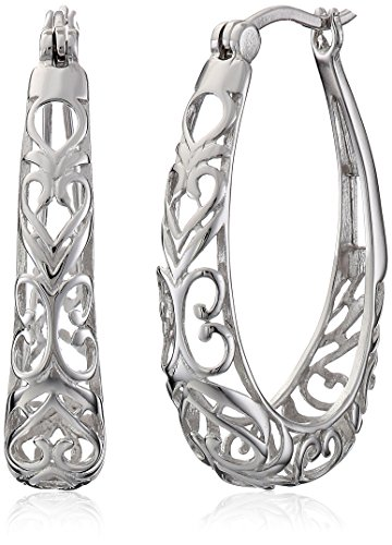(Sterling Silver Filigree Oval Hoop Earrings)