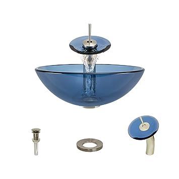 601 Aqua Brushed Nickel Waterfall Faucet Bathroom Ensemble