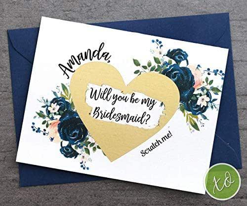Amazon.com: Bridesmaid Proposal Card Navy Blue And Blush
