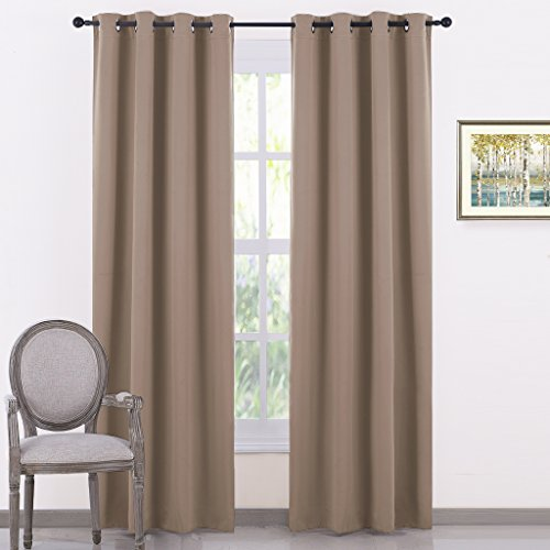 PONY DANCE Window Curtain Panels - Grommets Top Thermal Insulated Light Blocking Thermal Curtains Covering for Bedroom Dining Room, 55 Width by 80 Inches Length, Mocha, Pack-2