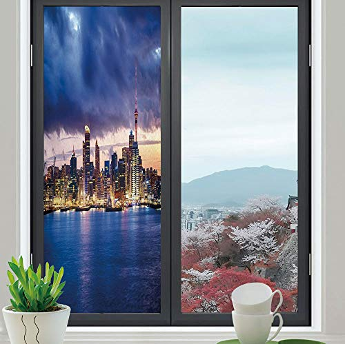 YOLIYANA Privacy Frosted Decorative Vinyl Decal Window Film,City,for Bathroom, Kitchen, Home, Easy to Install,Auckland The Biggest City in New Zealand Waterfront,24''x70''