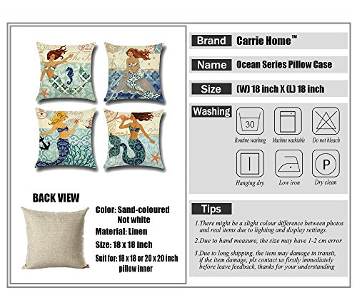 Carrie Home Decorative Sea Beach Pillow Cover, Mediterranean style Mermaid Ocean Decor Cotton Linen Throw Pillow Case Cushion Cover for bedroom 18X18 Inches, 4 Pack