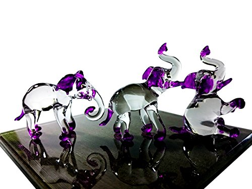 Lucky Elephant Glass Figurine - Sansukjai Set 3 Elephant Figurines Animals Hand Painted Purple Hand Blown Glass Art Collectible Gift Decorate