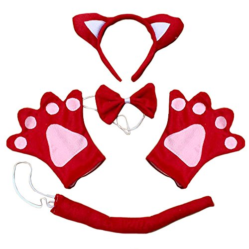 TopTie Set of 4 PCS Headband, Ears Bow Tie Gloves Tail Party Hair Accessory-Red (Red Fox Ears And Tail)