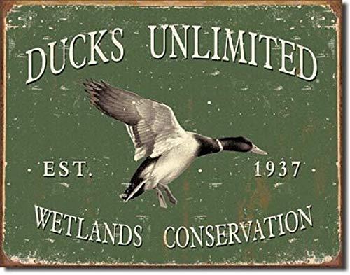 SRongmao Ducks Unlimited Since 1937 Vintage Look Retro Hunt Cabin Wall Decor Metal Tin Sign 8x12in