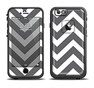 The Sharp Gray & White Chevron Pattern Skin Set for the Apple iPhone 6 LifeProof Fre Case (Skin Only)